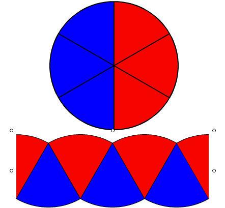חישוב שטח עיגול בעזרת מלבן